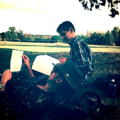 Last minute scipt revision in Oxford before the ferry
