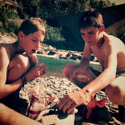 Swimming lunch under the Roman bridge, Bobbio